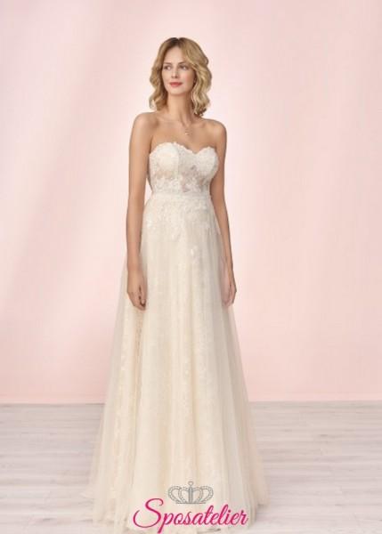 vestito da sposa economico online con scollo a cuore e corpetto di pizzo