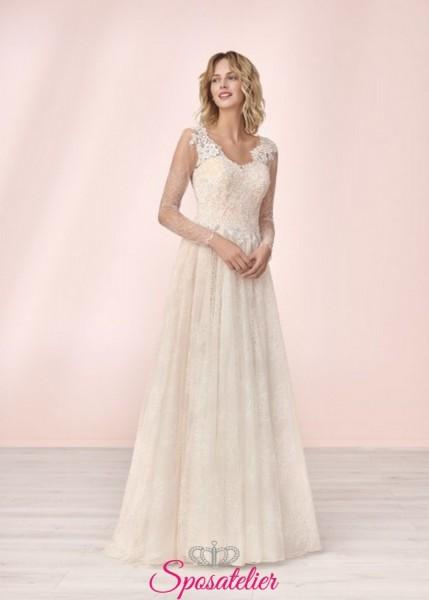 vestito da sposa economico online con scollo a semicuore e pizzo