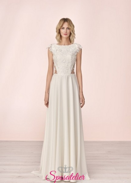vestito da sposa economico online moderno con ricami di pizzo