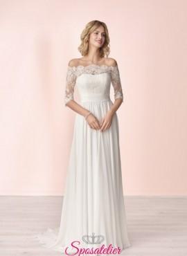 vestito da sposa economico online con scollo a barchetta collezione 2020
