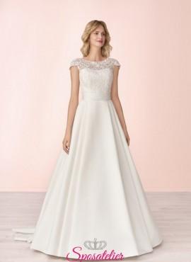 vestito da sposa economico online con gonna in mikado