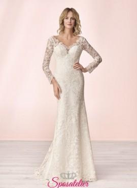 vestito da sposa economico a sirena in pizzo online collezione 2020