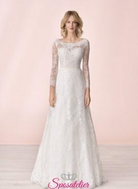 vestito da sposa economico online con maniche di pizzo collezione 2020