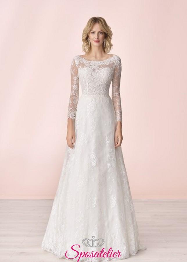 low priced 73a05 cbbdb vestito da sposa economico online con maniche di pizzo collezione 2020