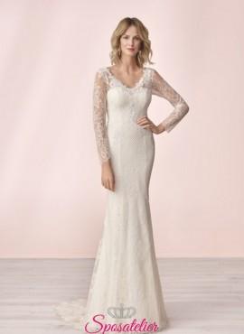vestito da sposa economico online a sirena con maniche lunghe collezione 2020
