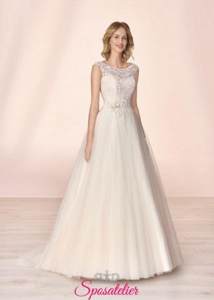 vestito da sposa economico online con ricami in pizzo collezione 2020