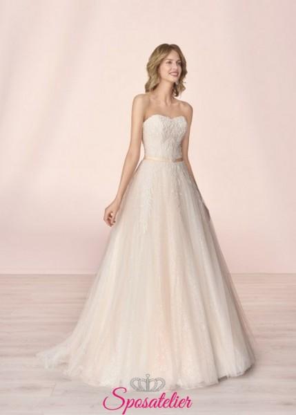 giselle- abito da sposa principessa  pizzo tulle strass