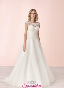 vestito da sposa economico online conricami di pizzo collezione 2020