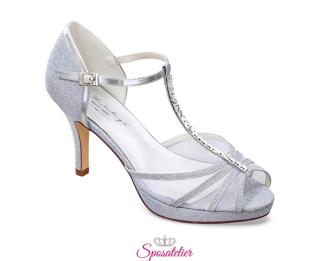 Scarpe Sposa 8 Cm.Scarpe Sposa E Cerimonia 2020 Online Color Argento Tacco 8