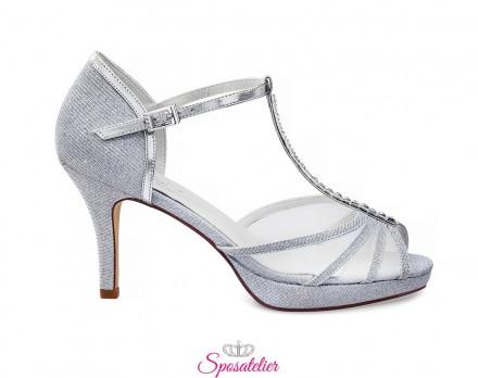 Scarpe sposa e cerimonia 2020 online color argento tacco 8 cm