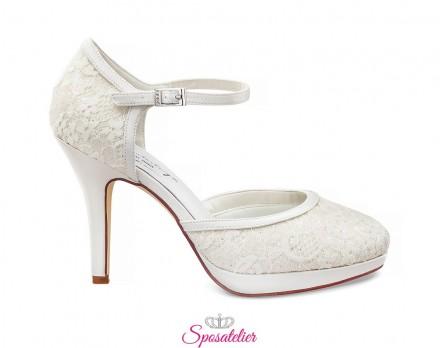 scarpe sposa online collezione 2020 con pizzo tacco 10 cm color avorio