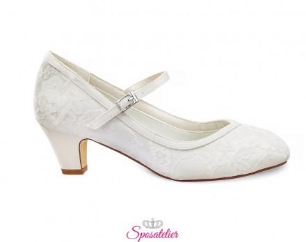 Scarpe da sposa comode online in pizzo con tacco 5 cm color avorio