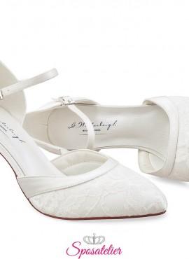 Scarpe da sposa online in pizzo collezione 2020 tacco 8 cm color avorio
