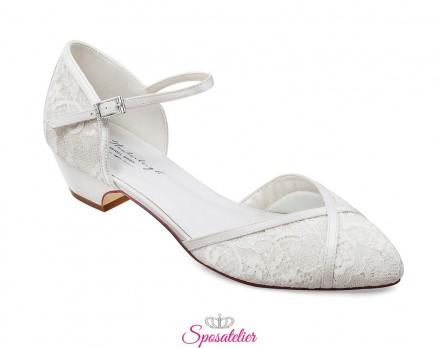 Scarpe da sposa basse tacco 3,5 cm online collezione 2020 avorio
