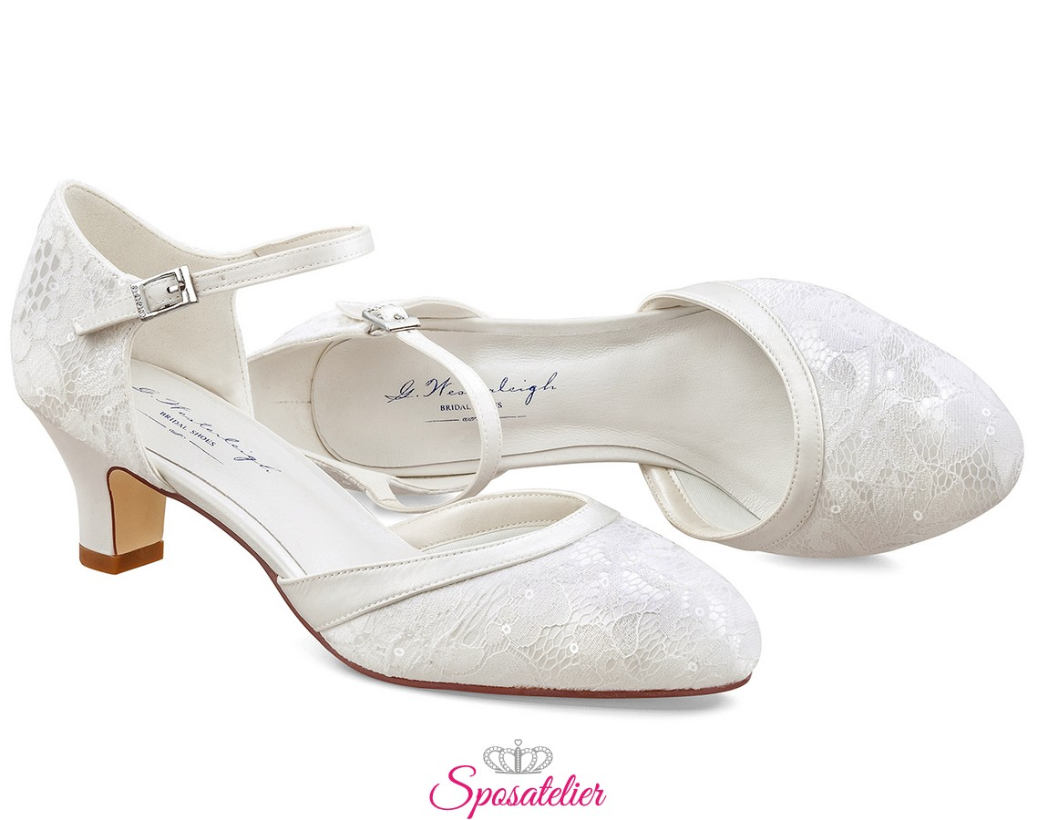 Scarpe Matrimonio Sposa Comode.Scarpe Da Sposa Online Tacco Basso Comode 5 Cm Color Avoriosposatelier