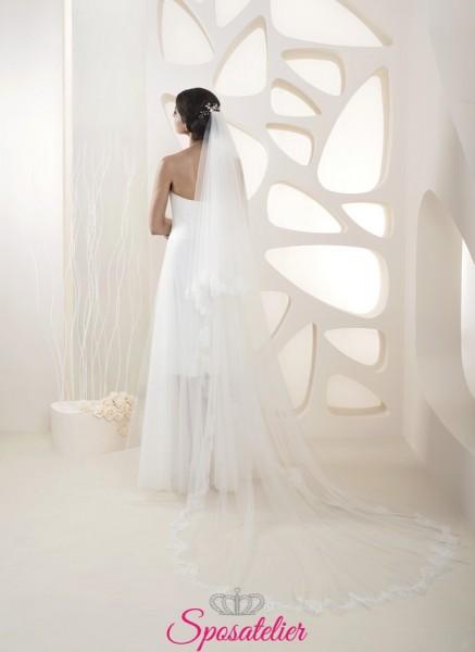 velo da sposa 2020 con ricami in pizzo lunghezza 250 cm