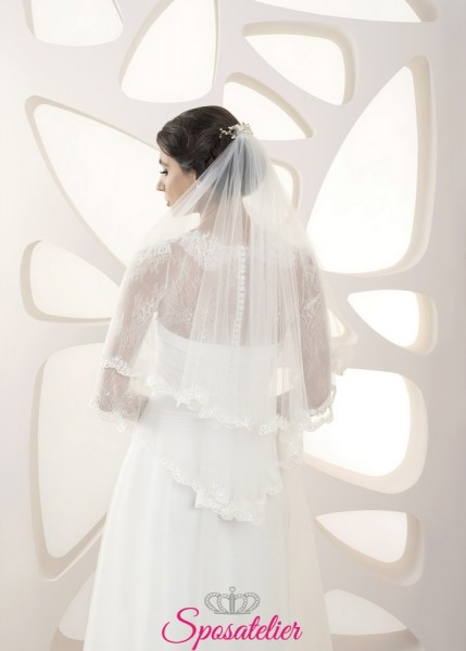 velo sposa online elegante corto con orlo ricamato