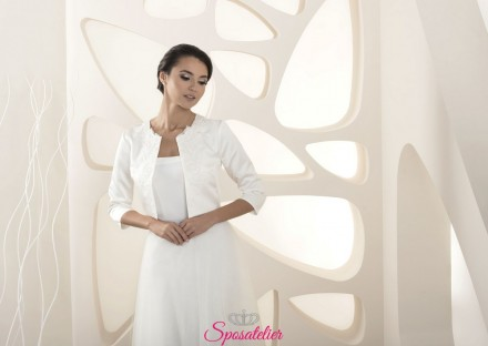 Giacchino sposa raso con fantasia in pizzo modelli 2020