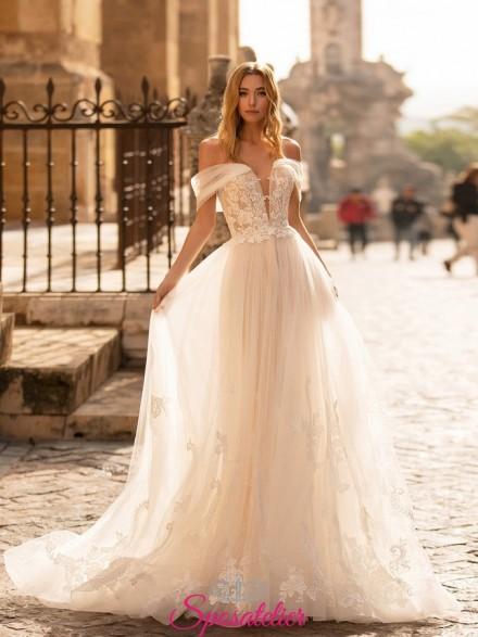 abiti da sposa online particolare con maniche di tulle e gonna in pizzo