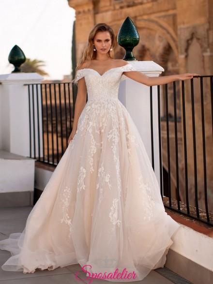 abiti da sposa 2021 tendenze con scollatura a barchetta online