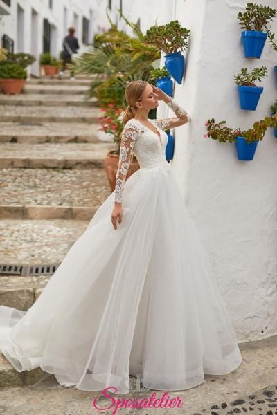 abiti da sposa 2021 tendenze con maniche lunghe di pizzo gonna da principessa