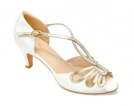 Janine- scarpe sposa 2021 online avorio con cinturino di pelle color oro