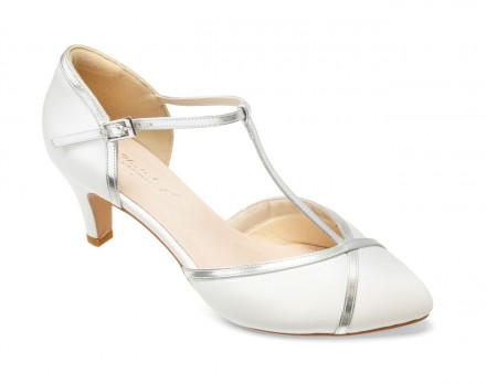 Kiara- scarpe sposa 2021 online avorio con cinturino di pelle argento