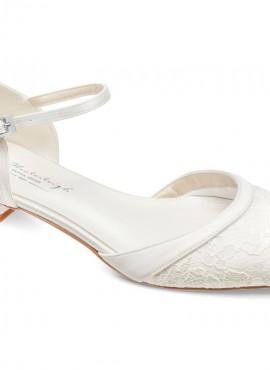 Lana- scarpe sposa basse collezione 2021 online avorio con ricami di pizzo