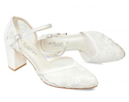 Miriam- scarpe sposa avorio con ricami di pizzo trasparente collezione 2021