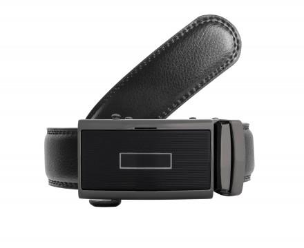 Cintura regolabile senza fori in pelle nera micro regolazione fibbia