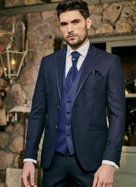 Abito da sposo blu scuro completo giacca cravatta panciotto pantalone elegante