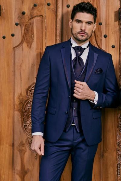 Abito da sposo blu completo pantalone cravatta panciotto