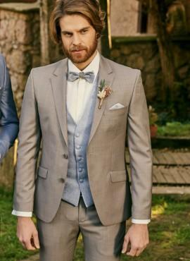 abito da sposo grigio tortora completo elegante uomo