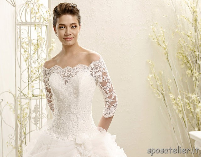 92111294220e elsa- abito da sposa a principessa con gonna vaporosa ricamata e corpetto  in pizzo con maniche a 3 4