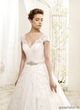 tea- abito da sposa a palloncino sartoria italiana decorato con pizzo e tulle cintura in vita con strass