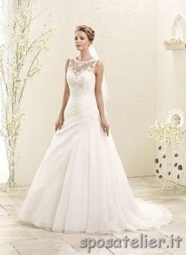annalisa- abito da sposa a palloncino con maniche a giro in pizzo
