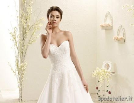 sara- abito da sposa a-line ricamato a mano confezionato su misura sartoria italiana online