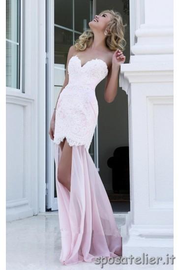 vestido de ceremonia de encaje rosa
