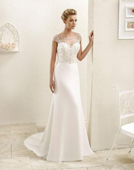 tera- Abito da Sposa a-line in seta decorato con strass e diamantini