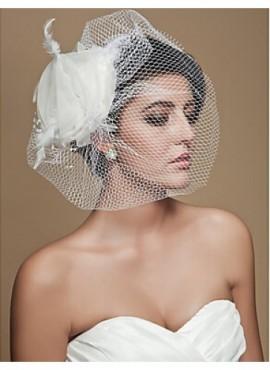 Veletta da Sposa online a rete con fiore in raso Elegante