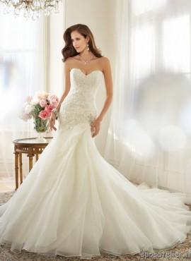 giulia- abito da sposa sirena 2016 in organza pizzo strass