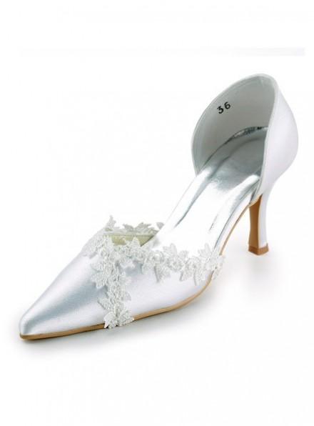 Scarpe da Sposa a Punta con Tacco a Rocchetto