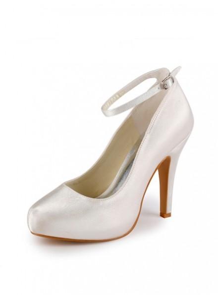 scarpe da Sposa economiche Decolletè Sposa con Plateau e Cinturino in Raso
