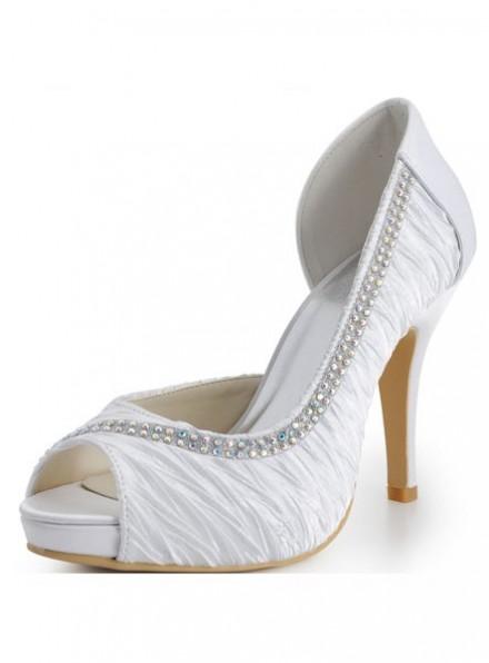 scarpe da Sposa economiche Scarpe Peep Toe in Raso con fila di brillantini argento